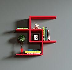 CHAIN Estantería de pared - Estantería de madera - Estantería para libros para el salón y el estudio de diseño moderno (Rojo): Amazon.es: Juguetes y juegos