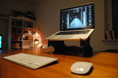 A homemade MacStand, made from an old shoebox