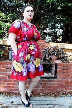 Plus Size - Vintage Red Floral Animal Print Trapeze Dress by TheCurvyElle, $40.00