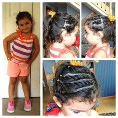 Kids Ootd. Outfit. Frenchbraid twists. Faux cornrows. Curly ponytail. Neon colors. Coral. Stripes. Pretty.   Follow my Instagram for more hairdos and styles: AbFabHairstyling