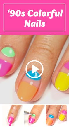 How to Get a Colorful 90s Manicure #nailart #naildiy #naildesign #nailtutorial Diy Nails, Manicure, Nail Tutorials, Nail Designs, Nail Manicure, Nail Desings, Nails, Nail Design, Nail Art Ideas
