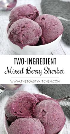 Two-Ingredient Mixed Berry Sherbet - The Toasty Kitchen - Health and wellness: What comes naturally Berry Sorbet Recipe, Mixed Berry Sorbet, Fruit Sorbet, Vegan Sorbet Recipe, Frozen Strawberry Smoothie, Blueberry Sorbet, Mixed Berry Pie, Coconut Sorbet, Frozen Fruit