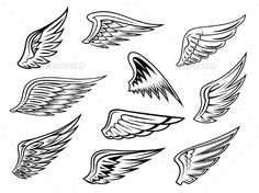 Heraldic Wings Set — JPG Image #template #silhouette • Available here → https://graphicriver.net/item/heraldic-wings-set/9258498?ref=pxcr