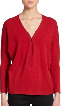 The Kooples Wool & Cashmere Zippered Top in Red | Lyst