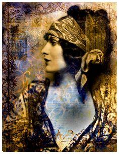 Wall Decor Digital Collage Portrait Gypsy Woman by AJoyfulStudio