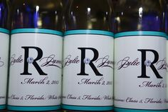 Wedding Favor Wine Bottle - Teal, White & Purple Spring St. Petersburg Waterfront Wedding - VRvision Photography