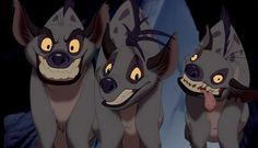 Banzai, Shenzi, & Ed. My favorite characters from the Lion King. Especially Ed!