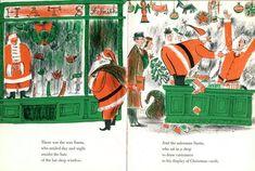 Roger Duvoisin (1900 – 1980) - Swiss-born American writer and   illustrator. illustration, drawing, art, design, modern, mid-century,   retro, vintage, children, picture, book, christmas, santa claus