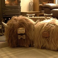 Couple of Cuties! Highland cow footstools from Tweed Yourself, link to our website in our Bio