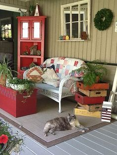 40 Beautiful And Colorful Porch Design - Do you want to make your front porch look inviting and welcoming, but are not sure how to do that? A few great porch landscaping ideas can make all th. Back Porches, Decks And Porches, Country Porches, Screened Porches, Outdoor Rooms, Outdoor Decor, Outdoor Living, Outdoor Kitchens, Gazebos