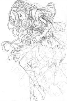 8번째 이미지 Anime Drawing Styles, Anime Drawings Sketches, Anime Sketch, Manga Drawing, Cute Coloring Pages, Disney Coloring Pages, Gothic Anime Girl, Drawing Hair Tutorial, Anime Lineart