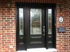 Image result for Black front door with sidelights