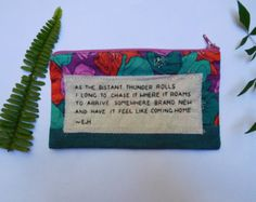 Embroidered Fabric Pencil Case Purse || Thunder Quote by Erin Hanson thepoeticunderground