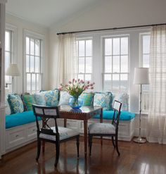 House of Turquoise: Beach,Coastal living,Seaside home decor Decor, Dining Nook, Built In Bench, House Design, Room, Dining Room Storage, Home Decor, House Interior, Interior Design