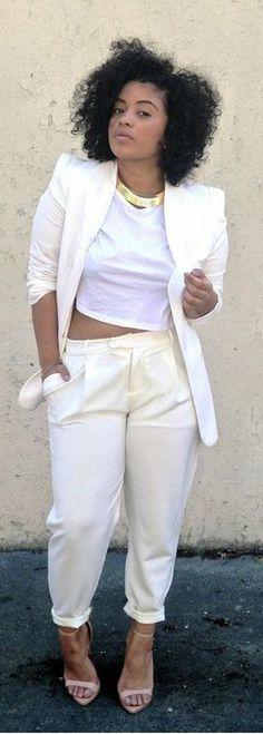 Plus size white dress suit - plussize-outfits.com