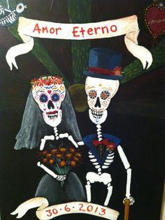 Dia De Los Muertos Wedding Painting Made To Order by CurioRama, $200.00
