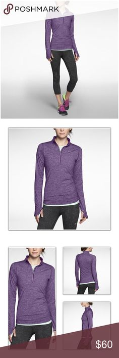 Nike element half zip Like new condition! This color purple is amazing. Even has thumb holes Nike Tops Sweatshirts & Hoodies
