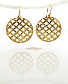 Weave Large Hollow Ball Earrings In 14ct Yellow Gold Vermeil With White Shires Round
