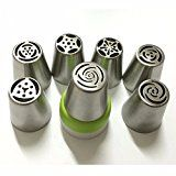 7PCS Stainless Steel Russian Tulip Icing Piping Nozzle  1 Adaptor Converter Pastry Decorating Tips Cake Cupcake Decorator Rose