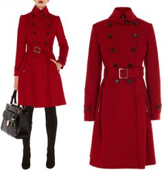 Double Breasted Fold-Over Collar Wool Coat Wool-blend coat; Double ...