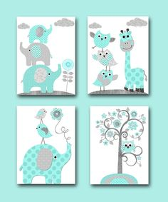 Kids Art Kids Wall Art Childrens Art Print Baby Boy Nursery Wall Decor Giraffe Wall Decor Elephant Wall Decor set of 4 Gray Blue by artbynataera