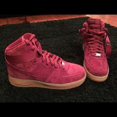 Air Force 1 hi suede Maroon suede with badge sole men's 8.5 Nike Shoes Sneakers