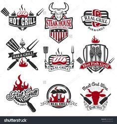 Set of grill bar labels, logos and badges templates. Steak house label. Grill restaurant label and design elements. beef, grilled salmon, steak, bbq labels. Restaurant Logo Design, Food Logo Design, Grill Restaurant, Grill Design, Logo Food, Menu Design, Branding Design, Grill Bar, Grill Logo