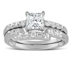 Romance is personified. Made with beautiful perfect sparkling highest quality DIAMANTE stones, part of limited edition luxury collection.Perfect bridal ring set for her, with unique design and affordability with this2 Carat Princess cut Bestselling Wedding Ring Set for Her.DIAMANTE limited edition designe wedding set, made with sparkling perfect cut stones, on sale for limited time.