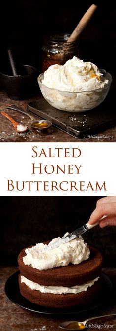 Salted Honey Buttercream is piquant and mellow. Great with chocolate. Salted Honey Buttercream is piquant and mellow. Great with chocolate. Frosting Recipes, Cupcake Recipes, Baking Recipes, Cupcake Cakes, Dessert Recipes, Cake Cookies, Cake Filling Recipes, Cookies Vegan, Caramel Cookies