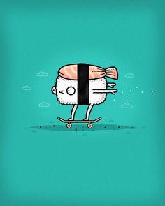 sushi taking a risk :P Sushi Puns, Sushi Logo, Funny Illustration, Food Illustrations, Sushi Drawing, Sushi Cartoon, Chocolate Sculptures, Sushi Art, Chalkboard Art
