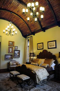 chandeliers and wood barrel ceiling!