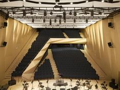 Built by Kengo Kuma and Associates in Aix-en-Provence, France with date Images by Roland Halbe. The project is a complex of the music conservatory, its concert hall and various other facilities. Acoustic Architecture, Auditorium Architecture, Theater Architecture, Auditorium Design, Interior Architecture, Concert Hall Architecture, Auditorium Chairs, Landscape Architecture, Kengo Kuma