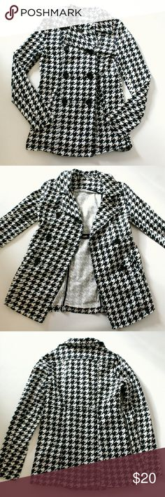 "Houndstooth Jacket H&M brand lightweight jacket, size 14 Y, equivalent to a juniors size S in my opinion. Black and white houndstooth print. Double breasted style with three pairs of buttons on front and one hidden interior button. Fabric is 98% cotton, 2% elastane - has a little stretch. Measures about 17.5"" pit to pit, 19"" sleeve length, total length 28"" (from back of neck to bottom hem). Excellent condition. H&M Jackets & Coats"
