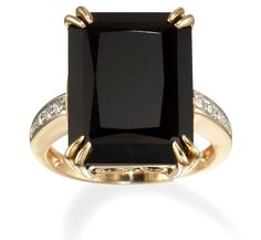 Emerald Cut Black Onyx Ring in 14k Gold with Diamonds only $598.00 - Black Onyx Jewelry
