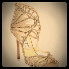 Jimmy Choo suede and mesh crystal heel in nude NWT gorgeous shoe. Comes in original box. Never worn. Purchased for my wedding but decided on another pair. Fits a 6.5. I do not trade. Jimmy Choo Shoes Heels