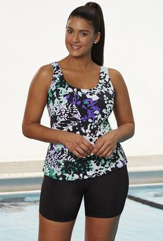 Chlorine Resistant Lilypad Sport Bike Shortini | Swimsuits For All