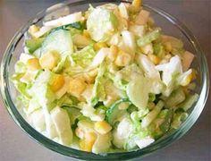 Ингредиенты:  Огурцы - 2 шт. Сельдерей стеблевой - 300 г. Китайский салат (китайская капуста, пекинская капуста) - 300 г. Яйца - 4 шт. Кукуруза консервированная - 1 банка. Майонез - 100 г. Соль - по …