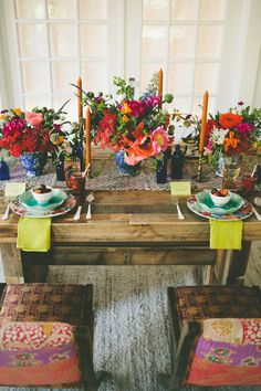 Rustic table with bright florals
