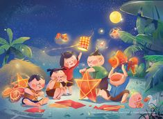 A very traditional Moon Festival on Behance Festival Paint, Art Festival, Children's Book Illustration, Character Illustration, Happy Mid Autumn Festival, Affinity Designer, Cute Cartoon Wallpapers, Drawing For Kids, Cute Art