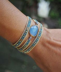 Blue mix wrap bracelet with chain Boho bracelet by G2Fdesign