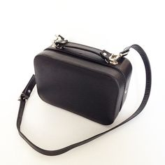 Black leather Boxy Bag Large