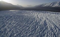 Aerial view of the Knik Glacier looking towards the Palmer area.
