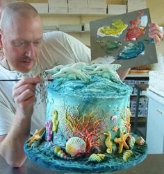 Photo of Ocean Theme Cake by David Cakes ~ Awesome Colors!!!
