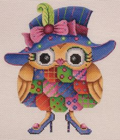 A_Collection_of_Designs_1788_Owl_Blue_Hat_Green_Eye_Shadow_Blue_Shoes_18_mesh_5.25_x_6_Handpainted_Needlepoint_Canvas_Threads_Sold_Separately_100_large.JPG (413×480)