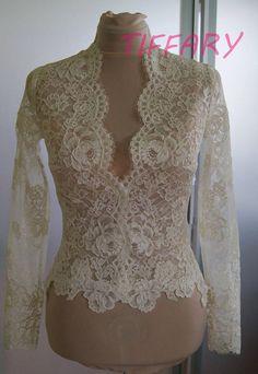 Wedding bolero top jacket of alencon lace long sleeveshort Wedding Jacket, Wedding Bolero, Batik Dress, Lace Dress, Bolero Top, Bolero Jacket, Kebaya Lace, Dress Outfits, Fashion Dresses