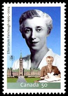 Rt. Hon. Ellen Fairclough 1905-2004. As MP advocated women's rits including equal pay for equal work. Her appointments as Secretary of State, Minister of Citizenship & Immigration, & Postmaster General made her the 1st woman cabinet member in Canada. Fairclough introduced regulations eliminating racial discrimination in immigration policy. Also, she was the 1st woman ever given the duty of acting Prime Minister. Was Officer of the Order of Canada, later Companion & received Order of Ontario.