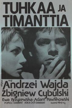 Finnish poster for ASHES AND DIAMONDS / Popiół i diament (Andrzej Wajda, Poland, 1958)