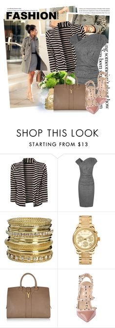 """""You Need A Fashion Shower..."" AdR./Top set for Oct 15th, 2012"" by majksister ❤ liked on Polyvore featuring L.K.Bennett, Wet Seal, Michael Kors, Yves Saint Laurent, Valentino, midi dresses, oversized watches, ysl, striped coat and valentino"