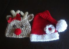 Baby Girl Reindeer Hat and Santa Hat Set Girls Holiday Hats... Isla might need these for Christmas =)
