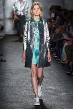 Marc by Marc Jacobs | Look 22 | Metallic leather coat $1600 http://www.ssense.com/women/product/marc_by_marc_jacobs/pink_and_turquoise_iridescent_metallic_leather_coat/98908